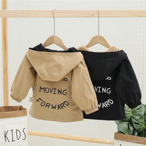 best selling Newest INS Kids Boys Girls Hoodies Coat Keep Moving Forward Letters Printing Black Khaki Double Sided Stylish Children Clothing Zipper Coat