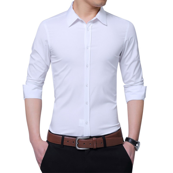2018 New Men's Shirt Fashion Casual Long Sleeved Shirt Slim Fit Man Business Dress Brand-Clothing Plus Size 5XL