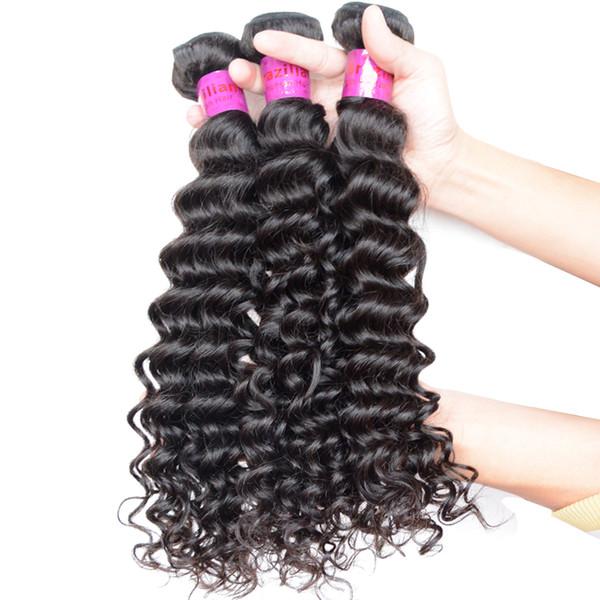 Curly Brazilian Indian Peruvian Malaysian Hair Bundles Deep Wave 3/4/5pcs Unprocessed Braiding Raw Virgin Human Hair 12-30inch Natural Black