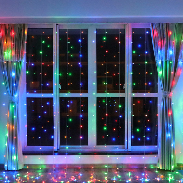 Wholesale 768 LEDs Christmas Holiday Lighting 110V 220V Xmas Garden Party 6X4 Meters 9 Color 8 Modes Indoor Curtain Decoration Lamps
