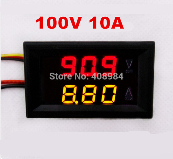 DC 0-100V 0-10A car Voltmeter Ammeter tester Panel LED Dual Display five wires Current Voltage Monitor Volt Amp meter