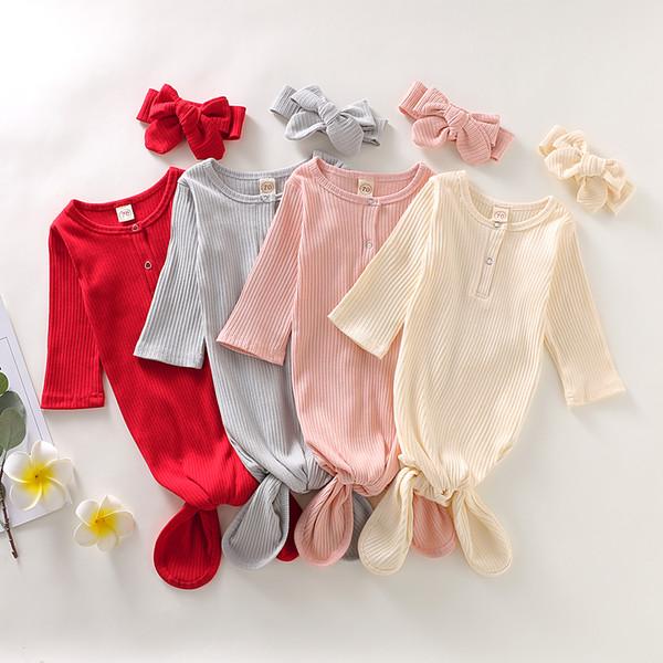 Vestido de bebé Camisón de algodón recién nacido Camisón de manga larga Sacos de dormir para bebés Conjunto de trajes para el hogar de Baby Boy Girl Coming
