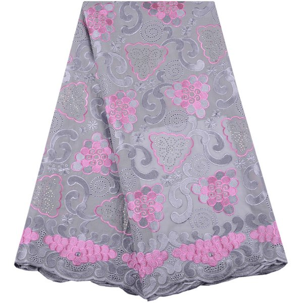African Lace Fabrics 2019 High Quality Gray+Pink Cotton Dry Lace Fabric Swiss Voile With Stone Voile Lace In Switzerland Y1480