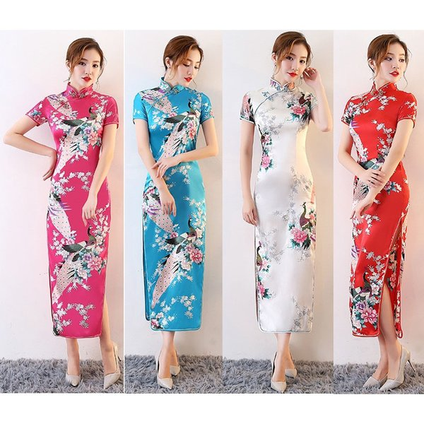 Satin Women Sexy Split Dress Cheongsams Tight Bodycon Long Dress Floral Kimonos Chinese Traditional Style Costumes Tang Suit