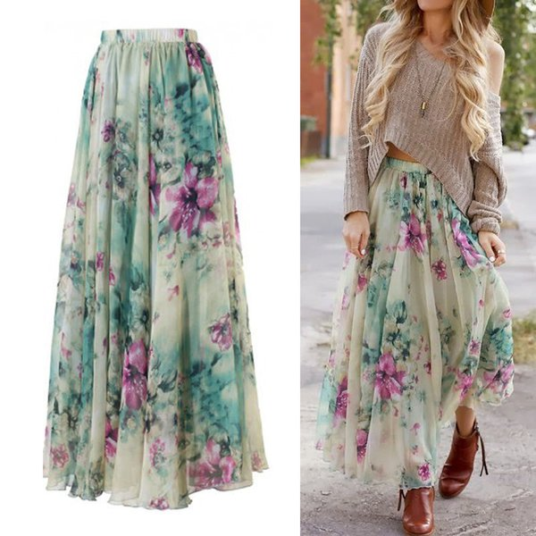 Verano Otoño boho de las mujeres de la impresión floral elástico de la cintura de la falda maxi largo gitana completa Faldas Beach refrescantes ropa de viaje