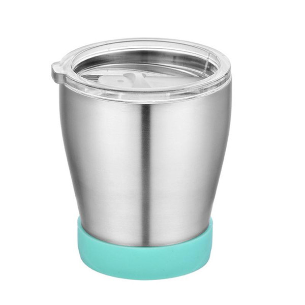 Vacuum Cup Non-Slip Double Walled Vacuum Insulated Mugs Stainless Steel Kid Mug Sippy Cup With Lid Clear Outdoor Travel Car DH0871
