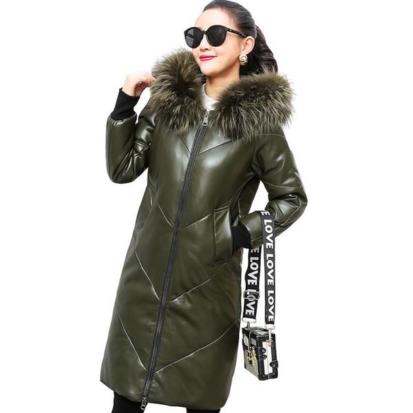 2019 Nueva Moda de Invierno Ropa de Abrigo de Cuero de Oveja Mujeres Largo de piel de Oveja Zorro de Piel Con Capucha Abajo Chaqueta de Abrigo de Lana de Cordero W22