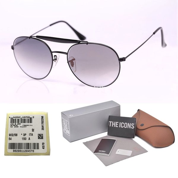 New Arrival Sunglasses for Women Men Brand Designer Double Bridge Metal Frame uv400 Flash Mirror glass Lens with Retail cases and label