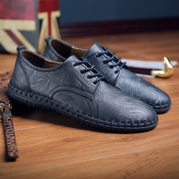 Men Shoes Leather Casual Soft Bottom Man Fashion Business Shoes Comfortable Male Flat Walking Sneakers Brown Black Size 38~47