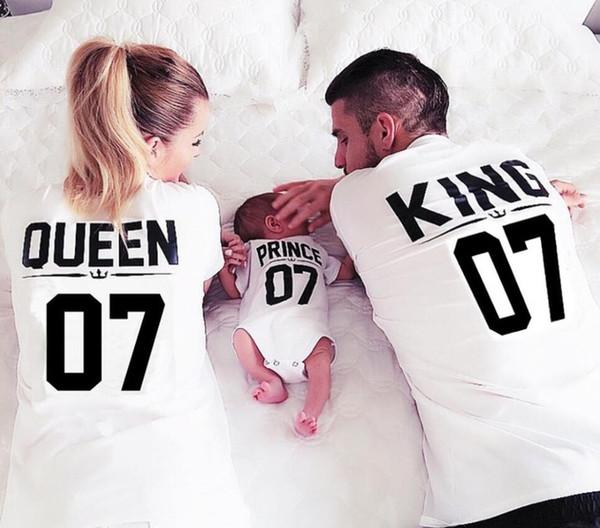 Оптовая Новый 100% хлопок соответствия футболка Король 07 Королева 07 принц принцесса Письмо печати рубашки, случайные Мужчины / Женщины любители топы