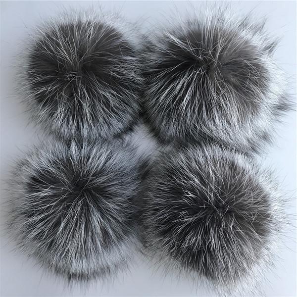"50pcs 15cm/6"" Real Silver Fox Fur PomPom Ball For Hat Cap Coat Shoes Accessaries w Button"
