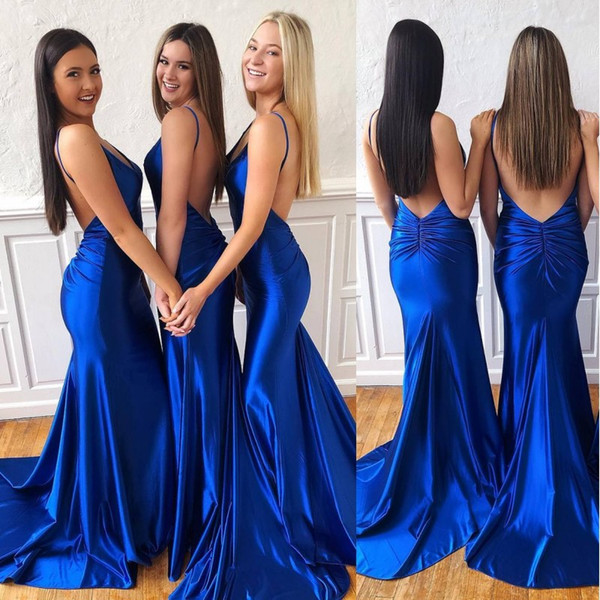 Sexy 2019 Royal Blue Mermaid Bridesmaid Dresses Cheap Spaghetti Open Back Wedding Guest Gown Prom Evening Party Gown BM0917