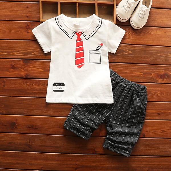 2019 clothes suits children boys summer clothing sets cotton kids tie pattern gentleman outfits boys short sleeve t shirt+pants