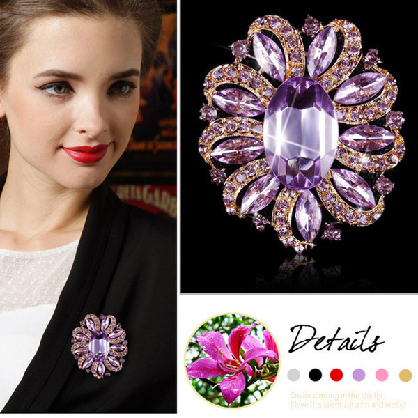 Factory Direct Sale Classic Crystal Rhinestones and Large Oval Acrylic Flower Brooch Pins for Women in Various Colors