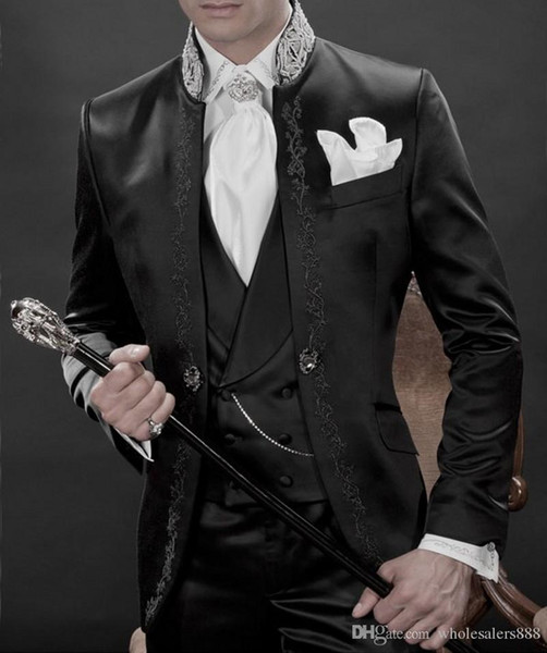 Handsome Groomsmen Mandarin Lapel Groom Tuxedos Shiny Black Men Suits Embroidery Wedding/Prom/Dinner Best Man Blazer(Jacket+Pants+Vest)K899