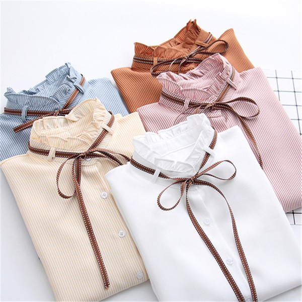 2019 New Female Chiffon Blouse Shirt Lady Solid Bow Shirt Loose Stand collar Women Long-Sleeved Shirts Dropshiping T519053101