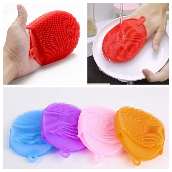 Silicone Dish Bowl Cleaning Brushes Scouring Pad Pot Pan Brushes Cleaner Kitchen Accessories Dish Washing Brush Kitchen Tool AAA223