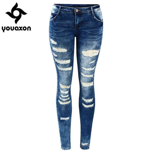 2045 Youaxon Women`s Celebrity Style Fashion Blue Low Rise Skinny Distressed Washed Stretch Denim Jeans For Women Ripped Pants C19041801