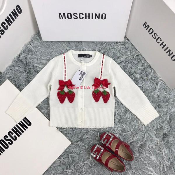 Suéter para niñas ropa de diseñador para niños cardigan con estampado de fresas otoño nuevo cárdigan con mezcla de cachemir