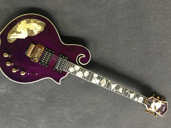 Hot Sale Factory Custom Electric Guitar with purple Body with flamed maple top with inlay on body and fengerboardCan be Customized