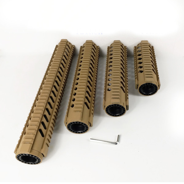 7,10,12,15 inch Lightweight design Free Float Quad Rail Handguard with Front end Cap Hunting Scope Accessories Tan Color