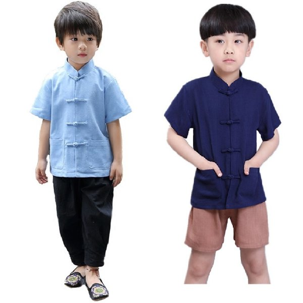 Chinese Traditional Kungfu Costumes Children Tang Clothes New Year Baby Boys Jersey Trousers Cheongsam Kids Sport Suit Linen Top