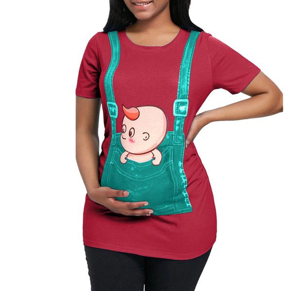 2019 Women's Maternity T Shirt Cute Female Short Sleeve Tops Cartoon Pattern T Shirt Nursing Baby Clothes ropa embarazada