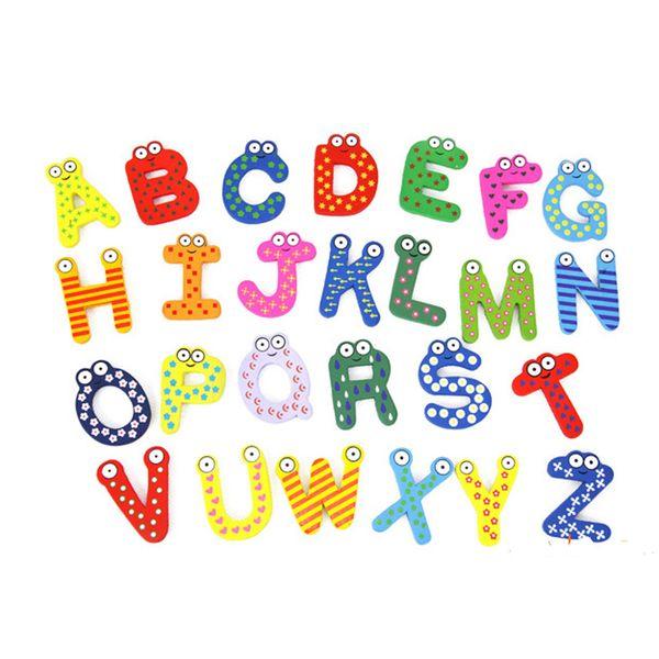 26pcs in legno Cartoon Early Education Toy Bambini Baby Blackboard ortografia Frigorifero Magneti Alfabeto lettere