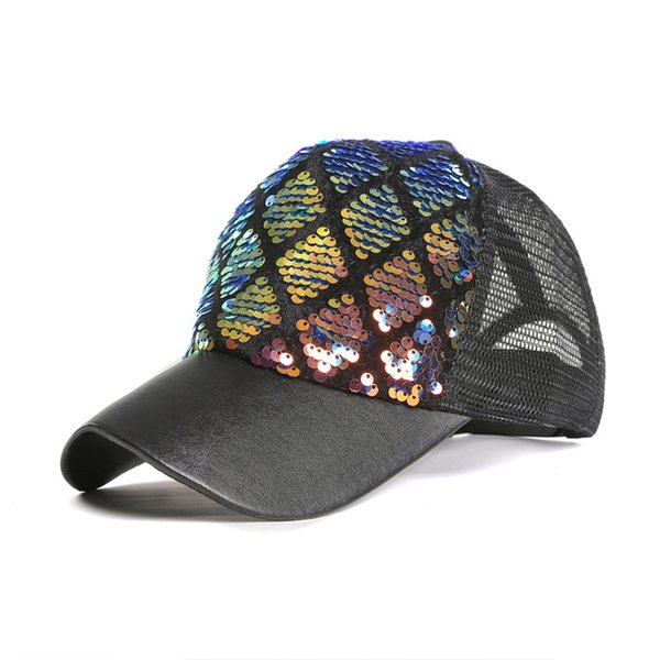 New Fashion Baseball Caps For Women Summer Two-tone Diamond Mermaid Hanging Piece Diy Visors Hat Baseball Cap Snapback Hat