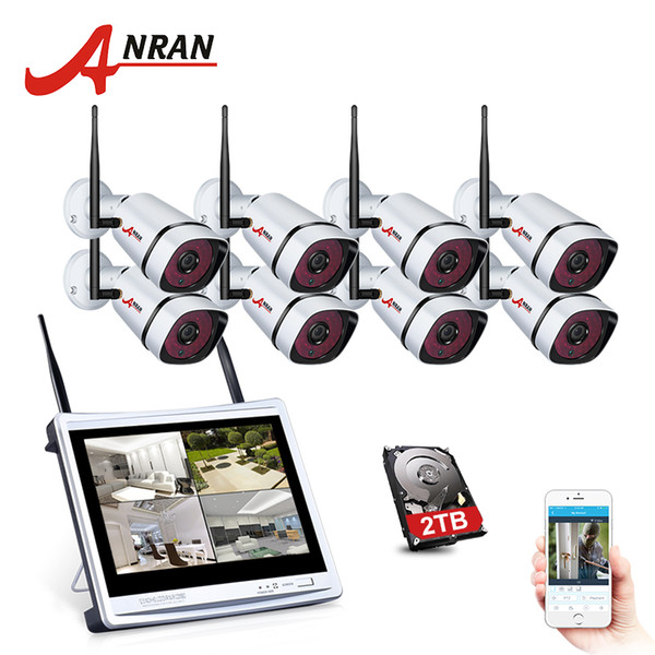 "ANRAN 8 Channel 1080P Wireless NVR Kit Wifi CCTV Camera System 12"" LCD Monitor Screen 2MP HD Outdoor Security Wifi Camera Kit"