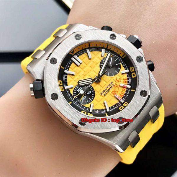 5 style Watch 42mm Automatic Mechanical Herrenuhr 26703ST 316L Stahlgehäuse Saphirgelb Zifferblatt Gelb Kautschukband Herren Sportuhren