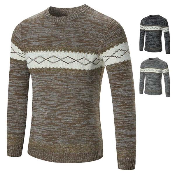 Jerseys de suéter para hombres Casual O-cuello Simple Slim Fit suéteres de punto Otoño Invierno Cálido Tops XIN-Shipping