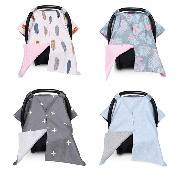 Assento de carro novo bebê Canopy tampa à moda Carseat Cover for Infant Stroller sono Buggy Canopy Unicorn Flamingo Capa Imprimir Enfermagem