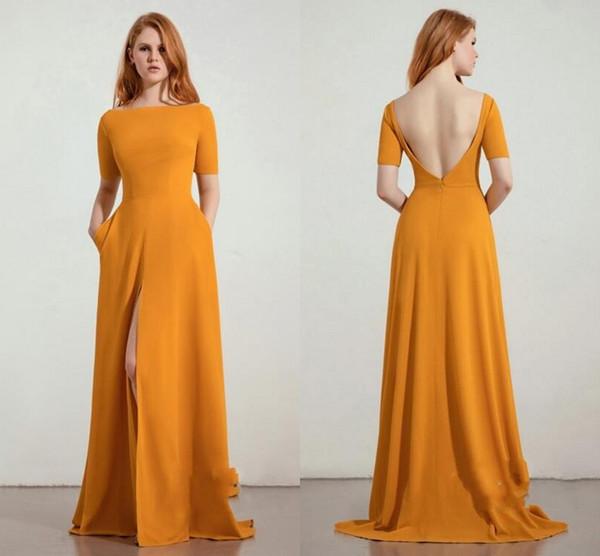 Vintage naranja satinado vestidos largos de dama de honor baratos mangas cortas sin espalda Corte medio Largo con bolsillos Banquete de boda Prom vestido de damas de honor