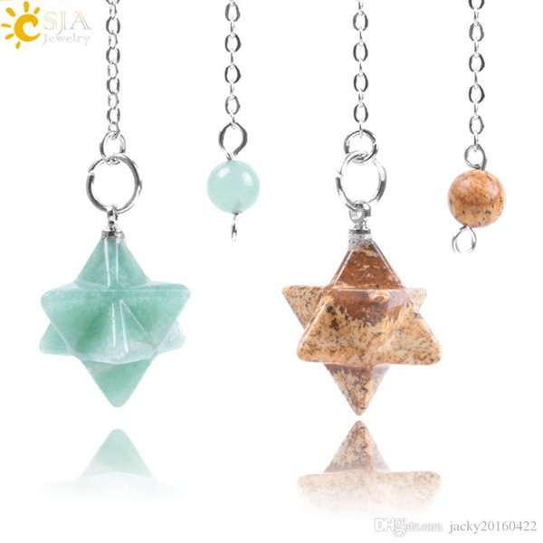 CSJA Natural Gem Stones Merkabah Pendulums for Dowsing Divination Wicca Chakra Reiki Pink Crystal Lapis Lazuli Onyx Pendant F055