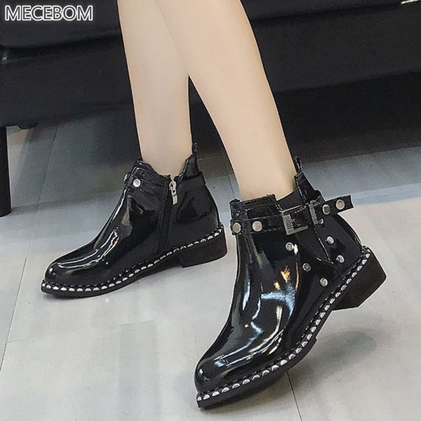 Genuine Ltather Winter Women Boots 1182w Belt Buckle Rivet High Heel Ankle Wedges Platform Solid Casual Zapatos Mujer