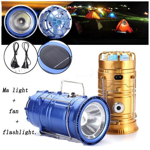 Lumières solaires d'été alimenté avec ventilateur Portable USB Charge de téléphone LED Éclairage solaire lampe de poche Lanterne à la main Camping extérieur Randonnée led