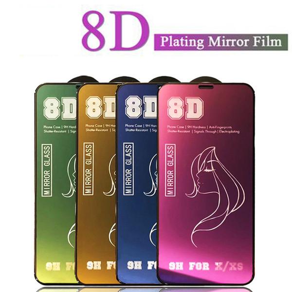 Verre de protection miroir de luxe 8D sur le film de protection d'écran pour iPhone 7 8 6S Plus pour film de verre trempé pour iPhone X XS Max
