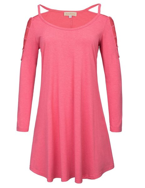 Donna T-Shirts shirt tunica dell'oscillazione pieghe Pullover Cotone Casual girocollo manica Hollow manica lunga