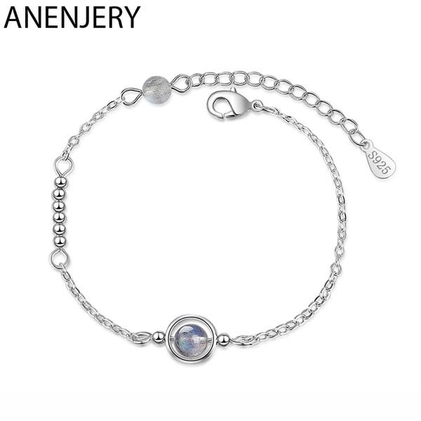 ANENJERY Dainty ronde Cercle Moonstone naturel Planète Pendentif Bracelet Argent 925 Labradorite Bracelet pour les femmes S-B269