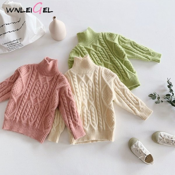 wlg girls boys winter sweaters kids turtleneck long sleeve beige green pink sweater baby warm thick all match clothes 1-5 years