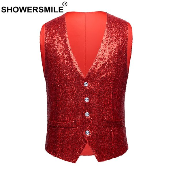 SHOWERSMLE Rock Vests For Men Red Sequin High Street Waistcoat Male Stage Punk Autumn Winter Slim Fit Sleeveless Jacket Gilet