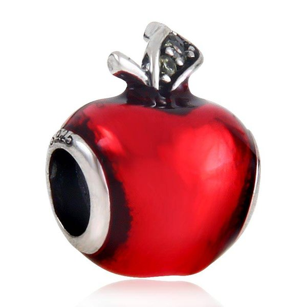 Jewelry Snow White Apple Charm with Red Enamel Green CZ Authentic Bead for Pandora Charms Bracelet Making