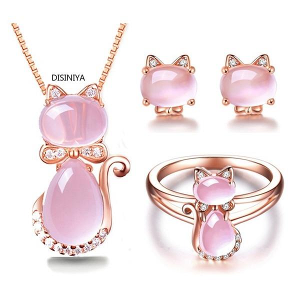 Pendientes del collar MOONROCY color rosa en oro cristal de la CZ Ross Cuarzo Rosa Opal y anillo Conjunto de joyas para mujeres de la joyería de gato