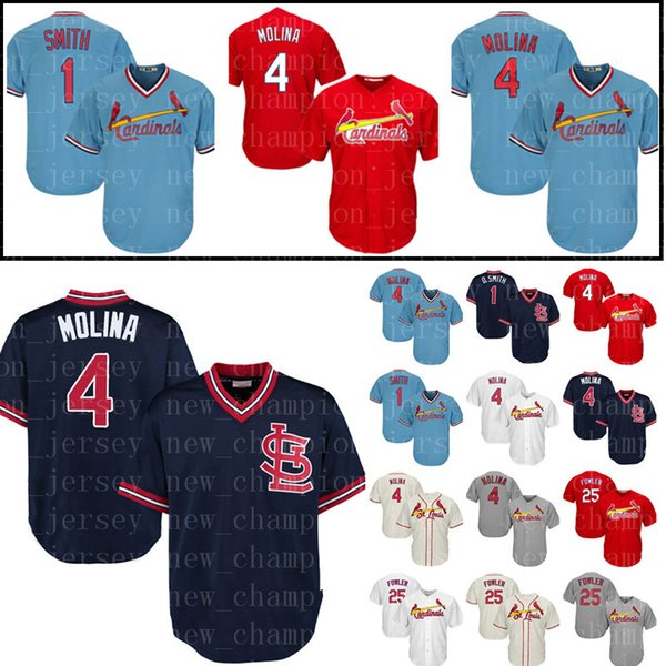 low priced a91fb a2dcf 2018 Men'S St. Louis Cardinals 4 Yadier Molina 1 Ozzie Smith Baseball  Jersey 25 Dexter Fowler Embroidery Stitched Jerseys Cheap Sale From ...