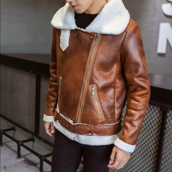 2019 Men's Faux Fur Coat Harajuku Fashion Thick Warm Winter Stylish Mens Leather Jackets Designer Suede Bomber Jacket Parka