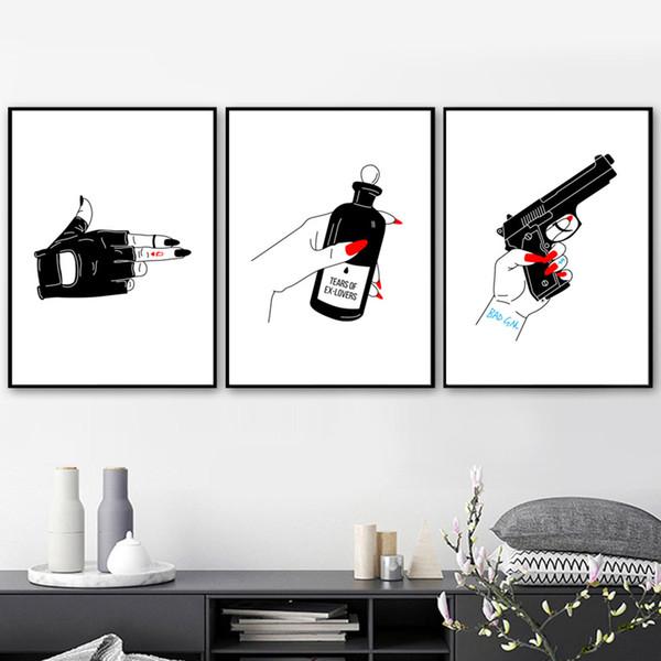 Acheter Style Nordique Décor à La Maison Pistolet Affiche Mains Noir Blanc Créatif Mur Art Toile Peinture Impressions Minimalisme Modulaire Photos De