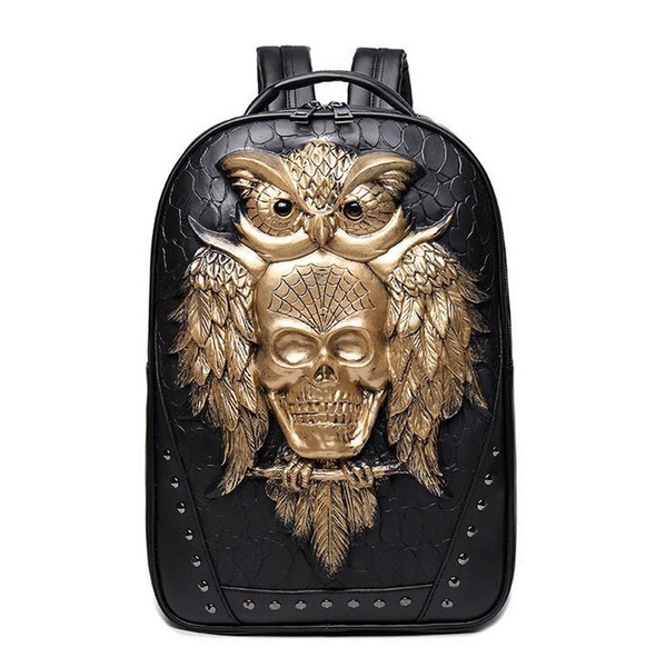 wholesale brand personality package 3D stereo backpack stone ghost punk fashion high quality leather backpack solid rivet cool schoolbag