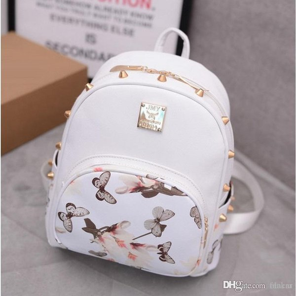 Wholesale- Butterfly Printing Small Korean Backpack Women Leather Backpack White Pretty Style School Bag For Teenages Girls On Sale Rivet