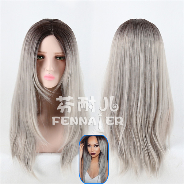European and American wigs female black and gray gradient highlights color long hair realistic natural net red live wig